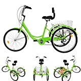 Qazqa Adult Tricycles 7 Speed, 24 inch 3 Wheel Bikes for Adults, Three-Wheeled Bicycles Cruise Trike with Cargo Vegetable Basket car/Installation Tool, for Seniors Women Men Trikes Recreation Shopping