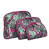 Nicole Miller 3 Pc Cosmetic Bag Set, Purse Size Makeup Bag for Women, Toiletry Travel Bag, Makeup Organizer, Cosmetic Bag for Girls Zippered Pouch Set, Large, Med, Small (Hot Pink & Green Leaf Print)