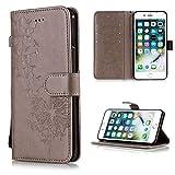 GHC Fundas & Covers para iPhone XS MAX, teléfono Volver Cubierta de la Carpeta del Caso del tirón para el iPhone XR X 5 5S 6S 8 7 Plus (Color : Gray Dandelion, Material : For iPhone 6 6s)