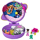 Polly Pocket Saturn Space Explorer Compact with Fun Reveals, Micro Polly and Lila Dolls, Lunar Vehicle, Alien Figure & Sticker Sheet; for Ages 4 Years Old & Up, Multi (GKJ51)
