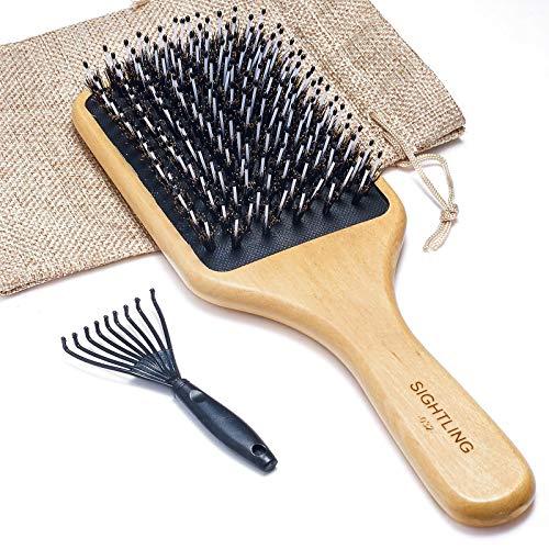 SIGHTLING Holzborsten Wildschweinborsten Antistatische Haarbürste mit Haarentfernungs Werkzeug, Professionelle Bambus Holz Stylingbürste zur Haarentwirrung und Detangling