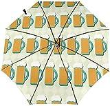 Paraguas de bebé con diseño colorido automático de tres pliegues con diseño de cerveza