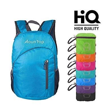 mountop Lightweight Foldable Packable Durable Travel Hiking Backpacks Daypacks 20L (Blue)
