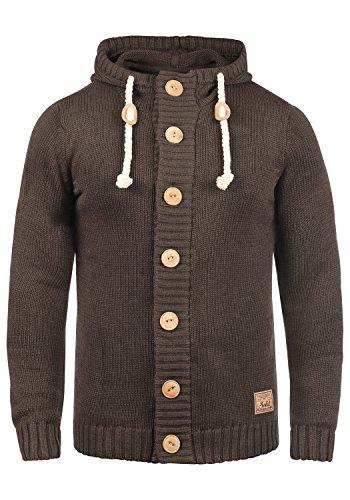 !Solid Peer Herren Strickjacke Cardigan Grobstrick Winter Pullover mit Kapuze, Größe:S, Farbe:Coffee Bean Melange (8973)