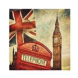 TropicalLife HaJie Servilletas retro Londres Big Ben Union Jack, servilleta de cena de papel de poliéster satinado servilletas reutilizables para mesa de niños, 50,8 x 50,8 cm, 6 unidades