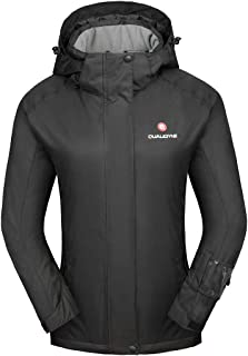 qualidyne Women's Ski Jacket, Winter Waterproof Detachable Mountain Hooded Windproof Rain Coat Snow Jacket