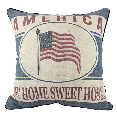 enFen Vintage USA Flag French Country 4th of July Pillow Covers Holiday Cotton Linen Throw Pillow Cases American Flag 16 Square