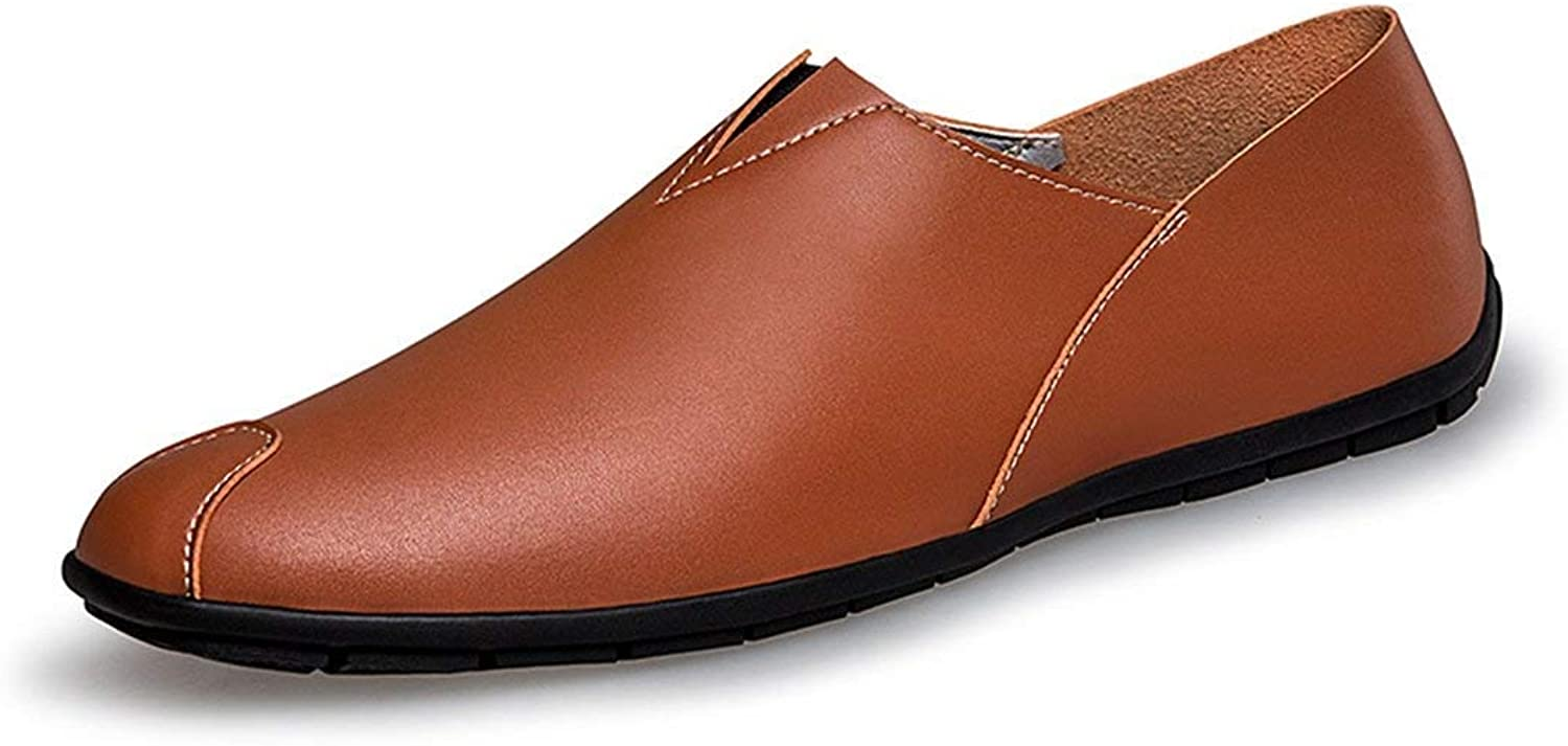 ZHRUI Boy's Men's Solide Slip-on Brown Synthetic Basic Loafers UK 5 (color   -, Size   -)