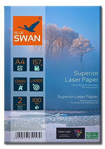 BLUE SWAN 200 Blatt A4 157g/qm, Schweres Laser Fotopapier Flyer Papier, Glossy,glaenzend, beidseitig bedruckbar, Fuer allen normalen Farblaserdruckern Kopierern (A4 157g)