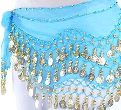 VISKEY Belly Dance Hip Skirt Scarf Wrap Belt Costume with Rows Gold Coins (Blue)