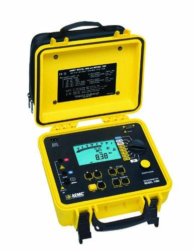AEMC 1060 Digital Megohmmeter with RS-232 Output, 50/100/250/500/1,000V, 4,000 Gigaohms Insulation Resistance, 400 Kilohms Low-Resistance, 5 Microfarads Capacitance, 1,000V Voltage