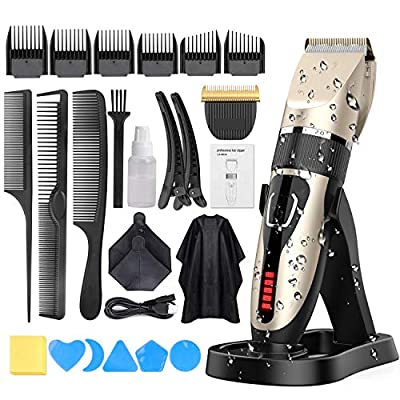 Hair Clippers for Men, Oudekay Professional Cordless Electric Haircut Kit Hair Trimmer with Charging Dock-2000mAh Lithium Ion USB Fast Charging LED Display Beard Trimmer (IPX7 Waterproof) by Oudekay