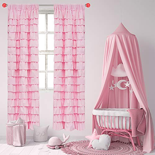 Pink Ruffle Curtains - 38 X 84 Inch Length Sets of 2 Panel,Baby Curtains for Nursery Girls,Multi-Layered Ruffled Darkening Curtain,Solid Cloth Decor Window Drapes,1 Pair