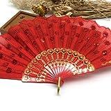 JIAWEIDAMAI - Abanico de mano con lentejuelas de pavo real para decoración de tela bordada de colores con patrón de flores de tela negra plegable 17