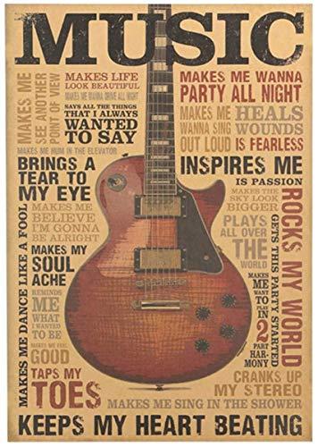 htrdjhrjy Einfach 51.5x36cm Musik Gitarre Retro Kraftpapier Plakat Vintage Stil Dekorativ Poster Druck Wand Kaffee Geschäft Verbindung - H01