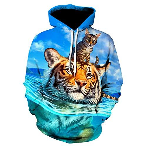 3D Sweater Tiger Printed Hoodies Männer 3D Hoodies Sweatshirts Boy Jacken Pullover Mode Animal Streetwear Out Coat,4XL