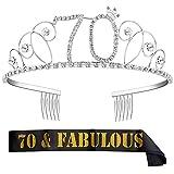 ZWOOS Corona per Compleanno 70 anni Cristallo Strass Corona Compleanno Tiara con Sash