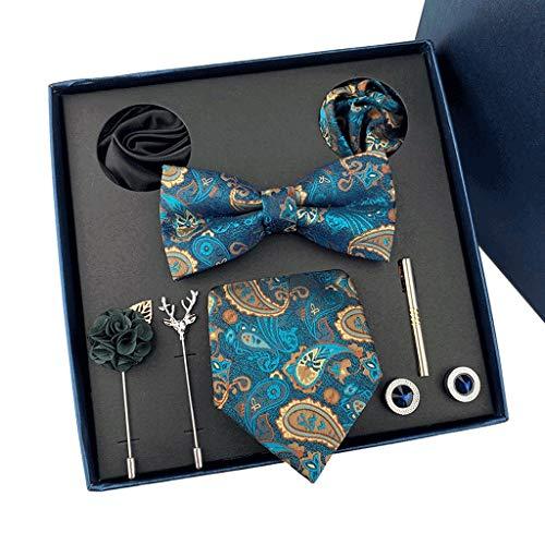JJSPP Caja de Regalo Corbatas Personalizadas Gemelos Bowtie Conjuntos Corbatas Rayas para Hombres Bodas Party (Color : C)