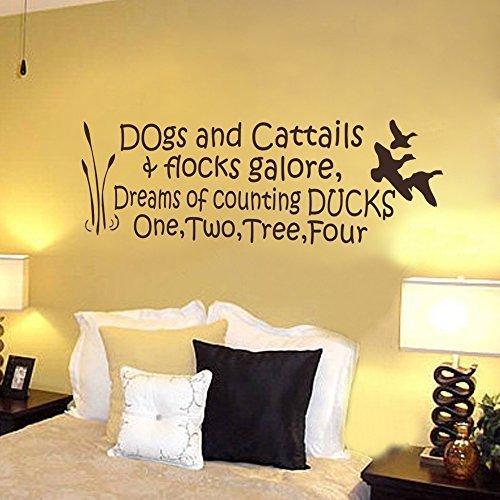 Sticker Decal Aufkleber Aufkleber Hunde catails Herden Fülle, Dreams der Zählung Enten Jagd Angeln Bettwäsche Zimmer–Kinderzimmer Schlafzimmer Wand Aufkleber (Navy Blau, 47x 147,3cm).