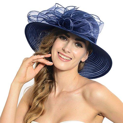 HISSHE Lightweight Kentucky Derby Church Dress Wedding Hat #S052, Blue, Medium