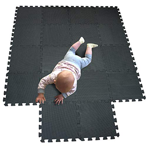 MQIAOHAM Interlocking Espuma suave Floor Mats EVA Puzzle Tiles Piso protector Set Protector de piso Surface Protection Underlay Mat para Sports Exercise Gym Fitness Sótano Garage Workshop negro 104