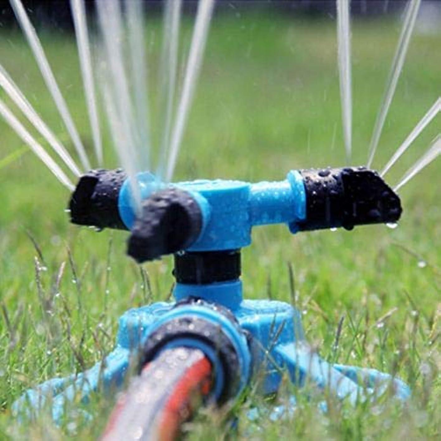 ホップ子音くさび360度ガーデン水スプリンクラー芝生サークル回転水スプリンクラー3ノズルガーデンパイプホース灌漑スプレー(色:青)