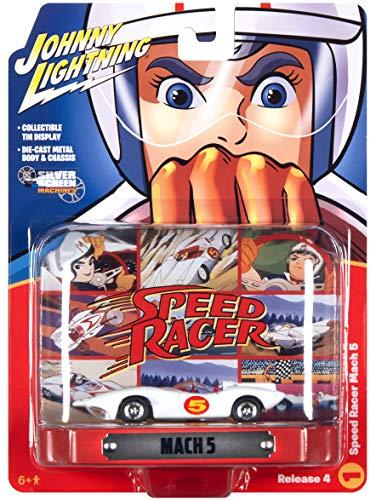 Speed Racer Mach 5 Five White con pantalla de lata coleccionable Speed Racer 1/64 modelo fundido a troquel de Johnny Lightning JLDR015-JLSP120