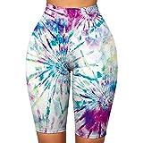 Atezch High Waist Tie-Dye Print Workout Yoga Athletic Shorts for Women Compression Biker Running...