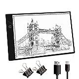 NONZERS Mesa de Luz A4, Portátil LED de Luz A4 Tableta con USB, Super Delgado y Brillo Ajustable, Herramientas Ideal para Calcar Dibujo, Dibujar Animación Diseñar visualización de rayos X