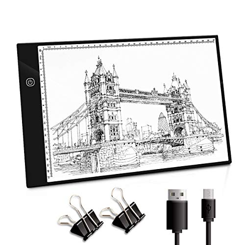 NONZERS A4 Leuchttisch, Leuchtplatte Light Pad, LED Zeichnung Pad, Stufenloses Dimmen Lichtkasten, Copy Board mit USB Kable, Ideal für Designen Kopieren Zeichnen Skizzieren Animation