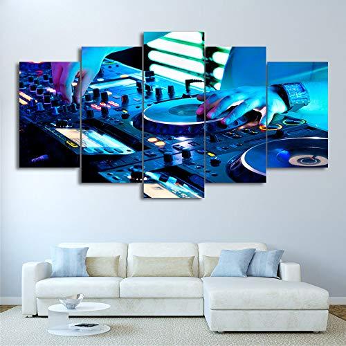 DGGDVP Cuadros enmarcados 5 Piezas Lienzo Arte Pintura reproducción de Cartel de DJ música de Pared imágenes para Sala de Estar decoración del hogar tamaño 1 con Marco