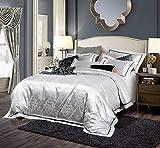Juego de Funda nordica Cama Blanco, Jacquard Floral Satin Duvet Cover Bedding Set, Fundas de Almohada para Dormitorio Hotel Double King Super King 1.5m-1.8m Cama