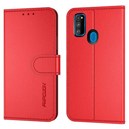 FMPCUON Handyhülle Kompatibel mit Samsung Galaxy M30S/M21(Neueste),Premium Leder Flip Schutzhülle Tasche Case Brieftasche Etui Hülle für Galaxy M30S/M21(6,4 Zoll),Rot