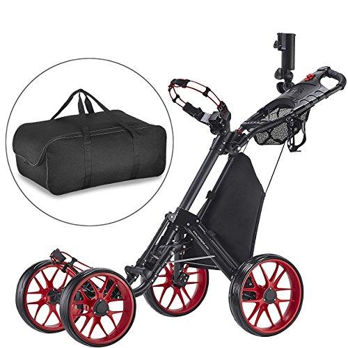 CaddyTek one Klick-klappbar, golf trolleys 4 Rad Golf Push cart,golfwagen-mit lager - tasche, rot