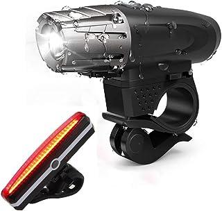 SKYTOUCH USB مصباح الدراجة قابل لإعادة الشحن 320 لومن ملحقات دراجة أمامية وخلفية قوية لركوب الدراجة الليلية، عاكسات الأمام...