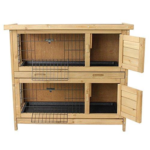 Kaninchenstall / Hasenstall EMMA auf 2 Etagen – 92x45x81 cm – Kleintier-Stall für Draußen. Der wetterfeste, doppelstöckige Stall für 2 Kaninchen – Timbo Hasenkäfig und Hasenstall - 3