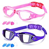 COOLOO Swim Goggles Men, 2 Pack Swimming Goggles for Women Kids Adult Anti-Fog, Pink & Sapphire