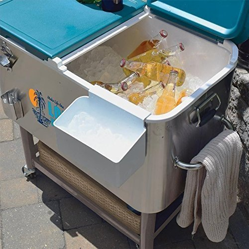 Tommy Bahama - 100 Qt Stainless Steel Rolling Party Cooler - 130 Can Capacity