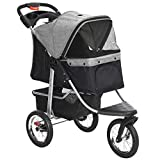 PawHut Luxury One-Click Folding Pet Stroller Dog/Cat Travel Carriage with Wheels Adjustable Canopy Zippered Mesh Window Door Grey and Black