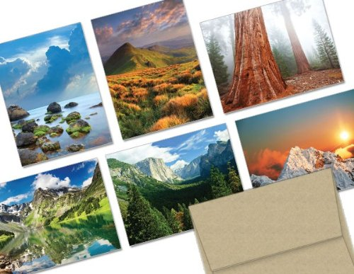Note Card Cafe All Occasion Greeting Card Set with Envelopes   144 Pack   Blank Inside, Glossy Finish   6 Majestic Scenery Designs   Bulk Set for Greeting Cards, Occasions, Birthdays