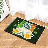 OqgsMindyzk St. Patrick's Day Tapis de Bain Bière avec Trèfles Feuilles Drapeau Irlandais Paillasson Étage Entrées Intérieur 60X40CM