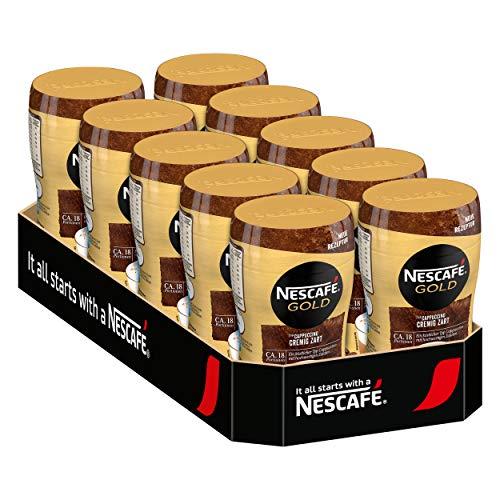 Nescafé Gold Typ Cappuccino, Cremig Zart, Löslicher Bohnenkaffee, Instantkaffee, Kaffee, Dose, 10 x 250 g, 12311730