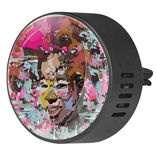 BestIdeas 2 clips de ventilación para coche, ambientador con graffiti sonriente, diseño de niña adolescente, fragancia blanca, difusor de aceites esenciales de aromaterapia