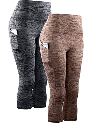 Neleus Women's 2 Pack Yoga Capris Running Leggings with Pockets,9034,Black,Brown,L,EU XL