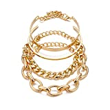4 Pcs/Pack Bohemia Multiple Layered Stackable Bracelets Set Punk Chunky Cuban Chain Bamboo Chain O-Paperclip Chain Bangles Vintage Adjustable Metal Link Charm Bracelet for Women-Gold B