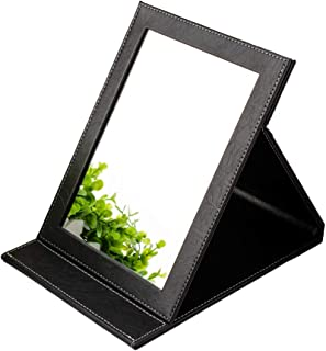 Compact & Travel makeup Mirrors organizer with folding stand for Personal Beauty Portable vanity Mirrors, Slim PU Leather desktop black Small standing mirror handheld Making Up,Size85.9inch (Black)