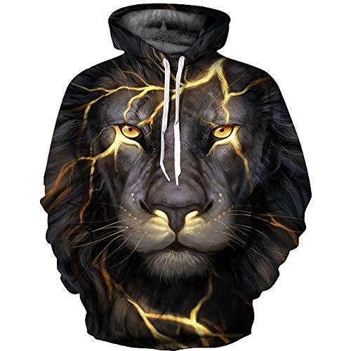WYCXY Unisex 3D Sweatshirts Drucken Beleuchtung Lion Hoodies Frühling Kapuzenpullover Tops Männer Frauen Moletom Masculino