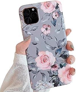 ZTUOK Kompatibel mit iPhone 11 Pro Hülle für Mädchen, flexibel, weich, schmal, Rundumschutz, niedliche Muschel Blumen Handyhülle, mit lila Blumen und grauen Blättern Muster für iPhone 11 Pro