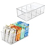 mDesign Plastic Food Storage Organizer Bin Box Container - 4 Compartment Holder for Packets, Pouches, Ideal for Kitchen, Pantry, Fridge, Countertop Organization - 2 Pack - Clear