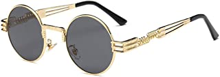 TEMPO Round Metal Frame Sunlasses Steampunk Vintage Driving Polarized Glasses with Spring Frame for Men and Women(Gold Fra...
